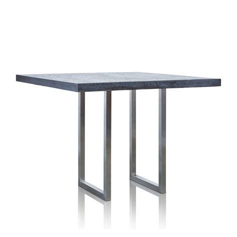 Large Bar Table Grc Square Bar Table Large In Black Gloss With Stainless Steel Base 1 Trilogy Furniture