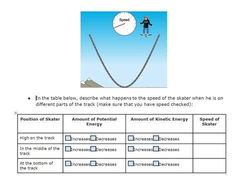 Kinetic And Potential Energy Worksheet Pdf by Energy Skate Park Worksheet Bluegreenish