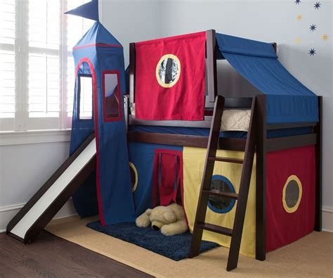 loft beds with slide jackpot low loft bed with top tent tower slide curtains cherry bed frames