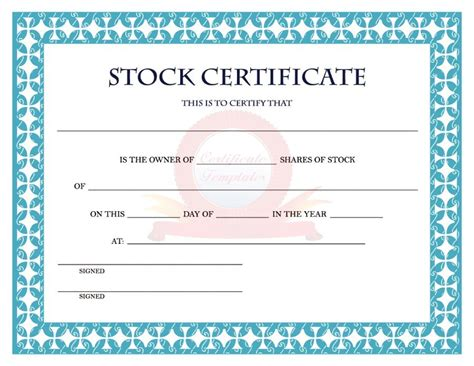 40 free stock certificate templates word pdf