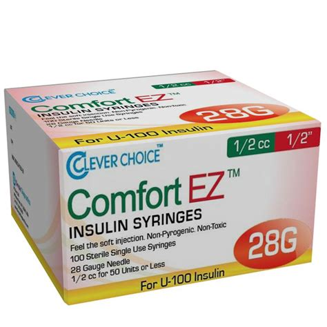 choice comfort clever choice comfort ez insulin syringes 28g 1 2 cc 1 2