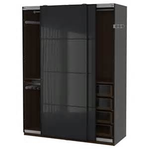 pax wardrobe black brown uggdal grey glass 150x66x201 cm