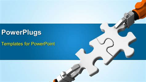 powerpoint template robot holding jigsaw puzzle piece on