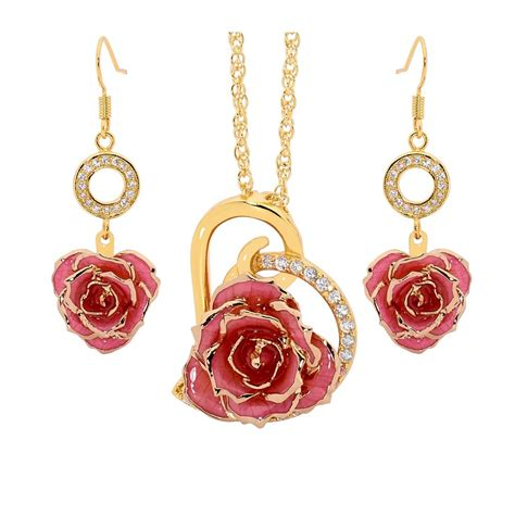 rose themed jewellery pink matching pendant and earring set heart theme 24k gold