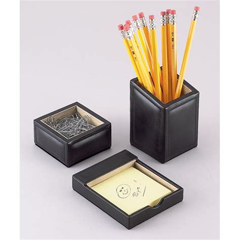 Desk Accessories Organizers Black Leather Desk Organizer Set In Desk Accessories