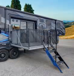 Cyclone Toy Hauler Floor Plans Fuzion 420 Toy Hauler Features Two Patio Decks Rv Business