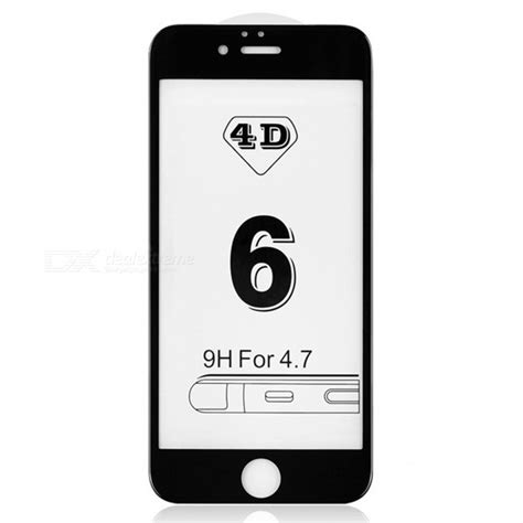 Temperd Glass Jete 4d Iphone 6 4 7 Black dazzle colour 4d cover tempered glass screen protector black free shipping dealextreme