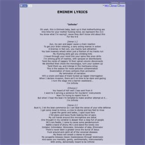 eminem infinite lyrics hip hop by genre mood pearltrees