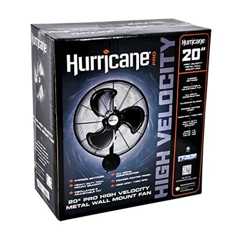 20 inch wall mount fan hurricane pro high velocity oscillating metal wall mount