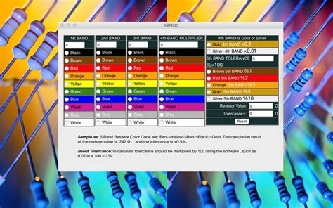 resistor color code v2 5br3c 5 band resistor color code calculator 5br3c 5 band resistor color code calculator mac版