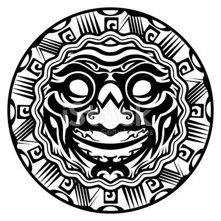 vector redonda sorrindo rosto tatuagem polin 233 sia stock
