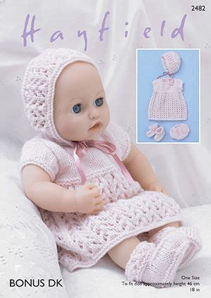 Babydoll Gt1807be Dk sirdar dk knitting pattern 2482 baby dolls dress bonnet bootees and
