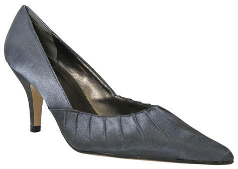 new pewter grey satin prom low mid heels