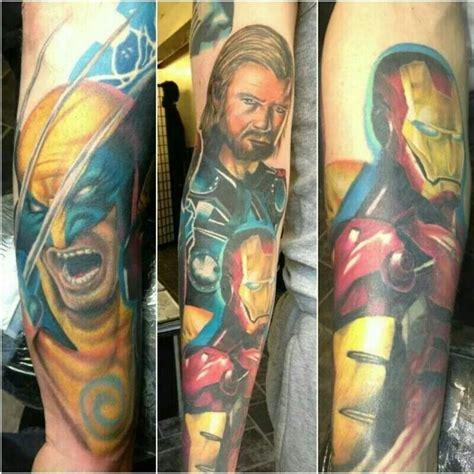 batman wolverine tattoo marvel sleeve tattoo ironman wolverine thor tattoos