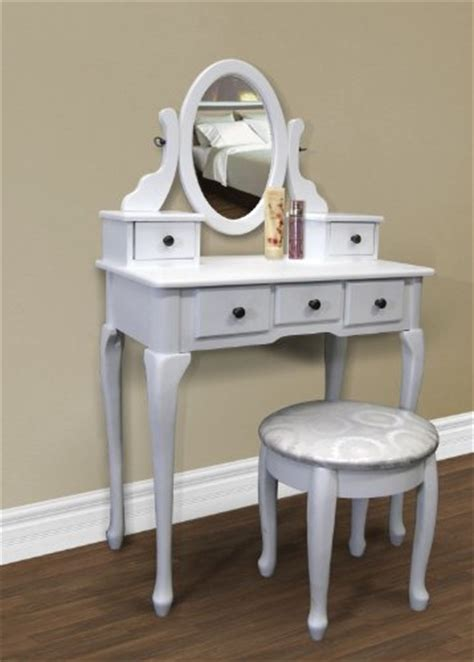 white vanity table set jewelry armoire makeup desk bench