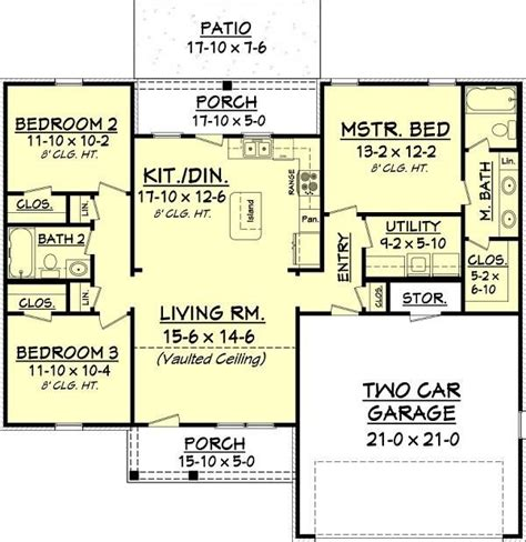 1300 square feet southern ranch home 3 bedrooms 1300 sq ft house plan