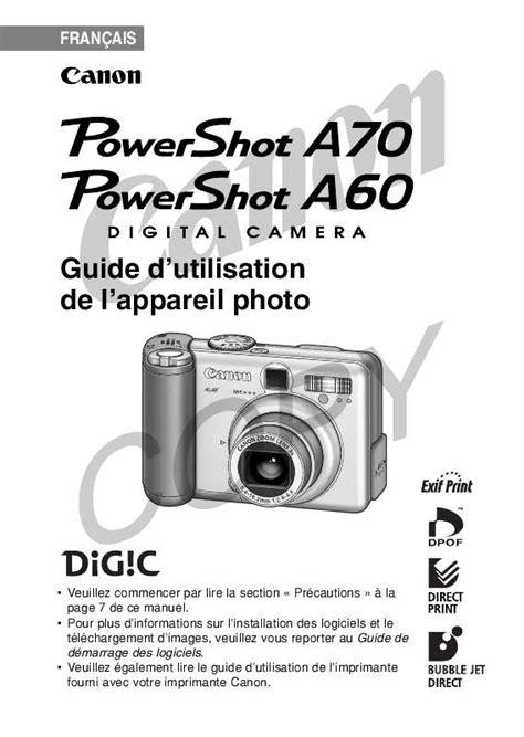 Mode d'emploi CANON POWERSHOT A60 - appareil photo Trouver