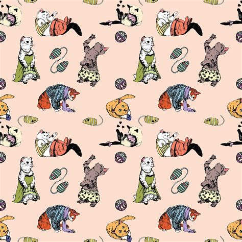 wallpaper cat illustration jessica x y l illustration cat wallpaper tiled pattern