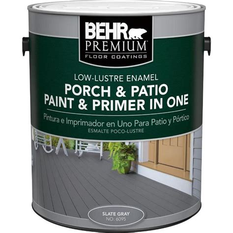 behr premium 1 gal 6095 slate gray low lustre interior exterior paint and primer in one porch