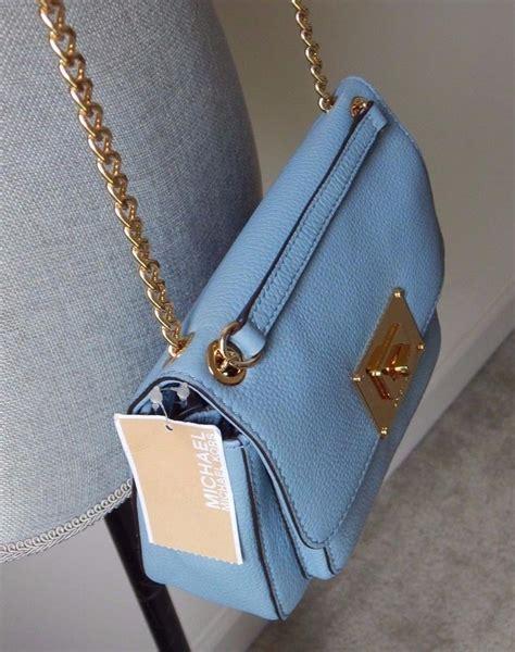 Michael Kors Sloan Pale Blue Tas Branded Original Mura Berkualitas michael kors sloan flap light blue powder blue leather cross bag tradesy