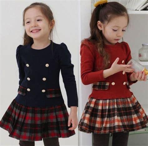 Anak 1 5 Years baby sleeve top tartan plaid skirt