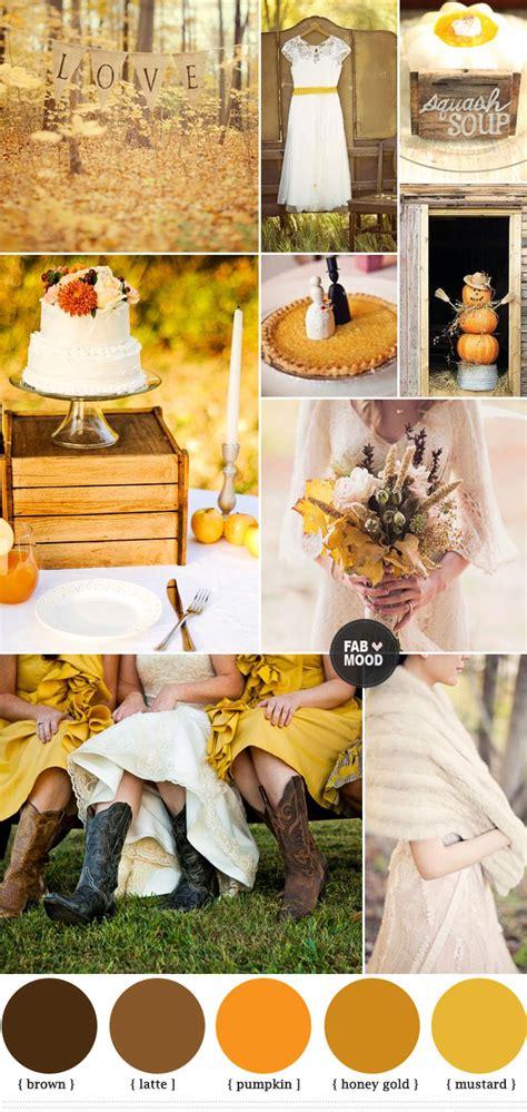 mustard and brown wedding colours palette autumn wedding