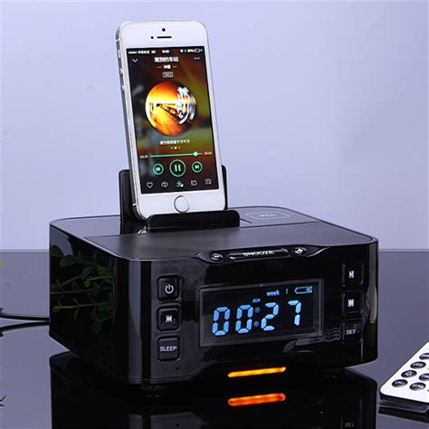 android clock radio 2016 nfc bluetooth speaker charging station for iphone and android with fm radio alarm