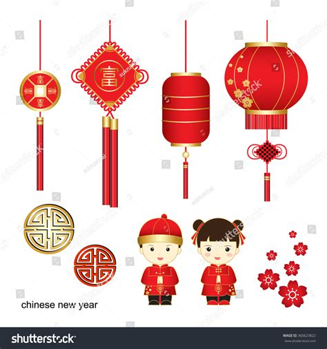 new year character vector new year vectorchinese characters meaning stock