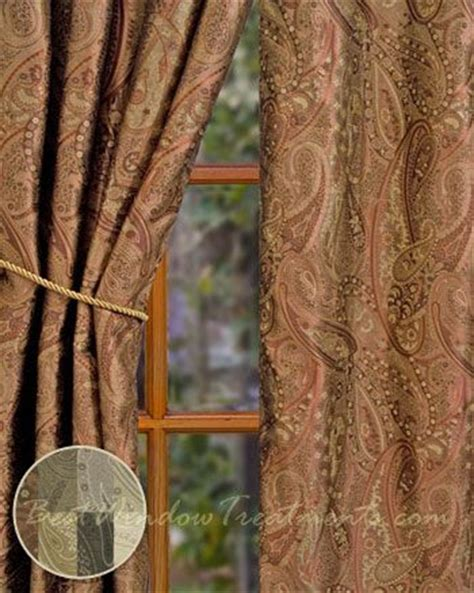 Chocolate Brown Valances For Windows Vanderbilt Paisley Jacquard Curtains In Sienna With Lining