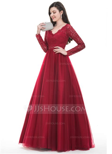 bal gowns ball gown v neck floor length tulle prom dresses with