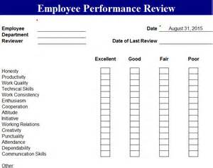 Employee Performance Scorecard Template Excel by Employee Performance Review Template My Excel Templates