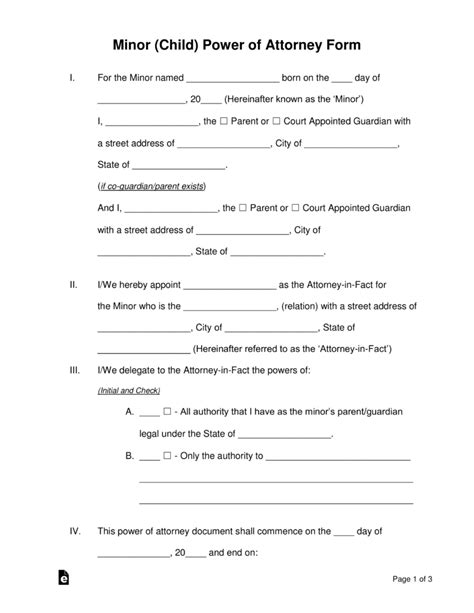 temporary power of attorney template free minor child power of attorney forms pdf word