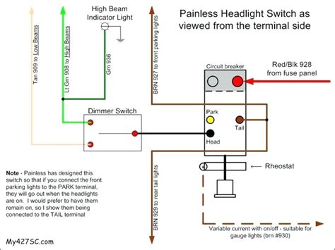 diagram universal headlight switch wiring diagram
