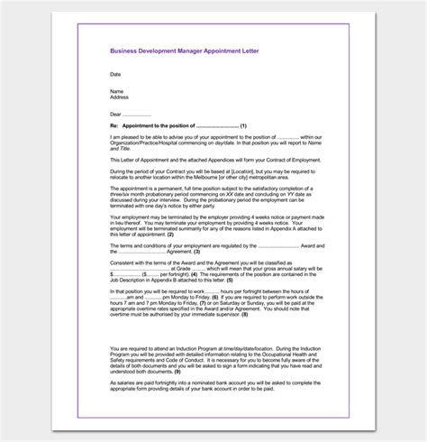 appointment letter format for business development manager business appointment letter 20 sles exles formats