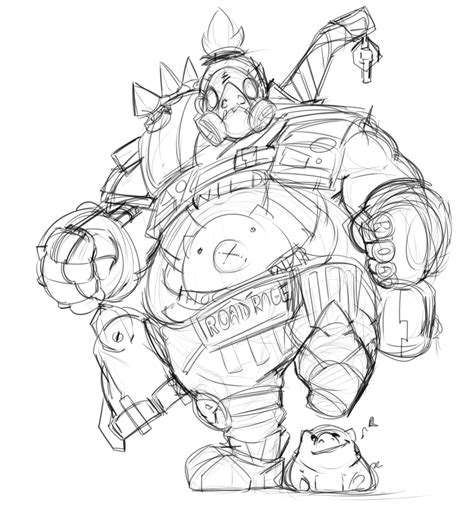 overwatch roadhog sketch by mrkelzack on deviantart