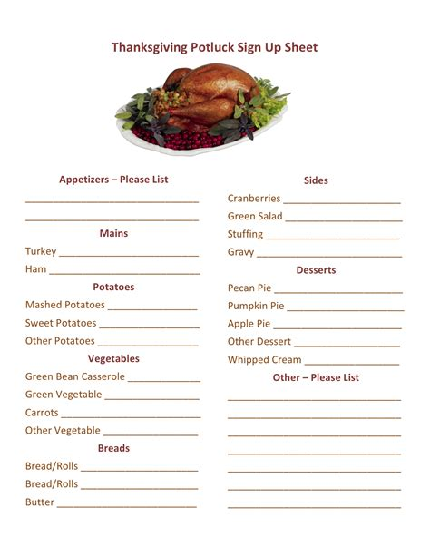 potluck menu template thanksgiving potluck sign up sheet calendar template 2016