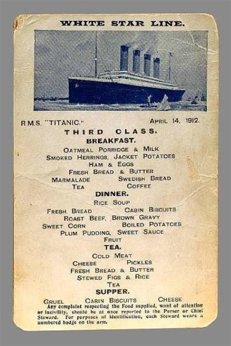 titanic menu the menu for third class on the titanic titanic fan page