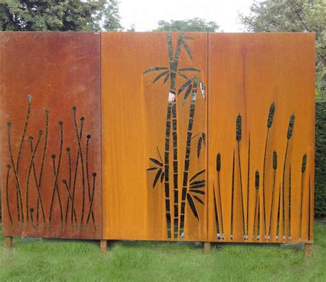 kunst für den garten sichtschutz bambus cortenstahl die neueste innovation