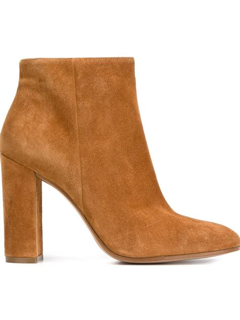 chunky ankle boots gianvito chunky heel ankle boots in brown lyst