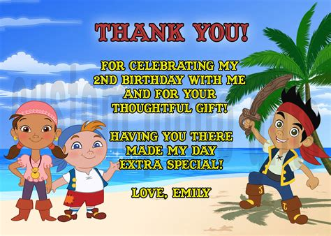 jake and the neverland thank you card template jake and the neverland pirates thank you card