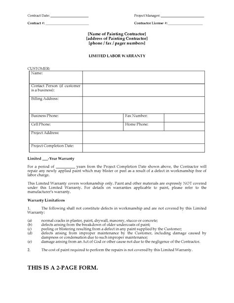 painting contract template painting limited warranty certificate form forms