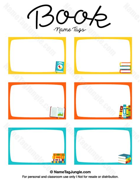 like template free free printable book name tags the template can also be