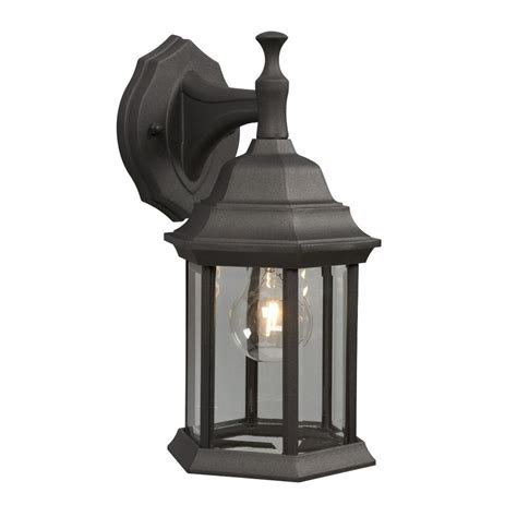 Black Outdoor Wall Light Shop Galaxy 11 5 In H Black Outdoor Wall Light At Lowes