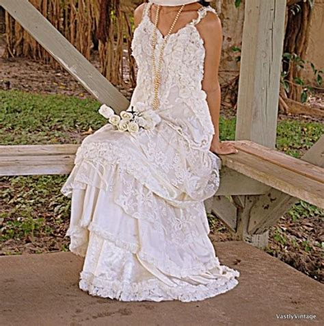 vintage bohemian wedding ideas ruffled romantic bohemian lace ruffled dress reclaimed ivory white
