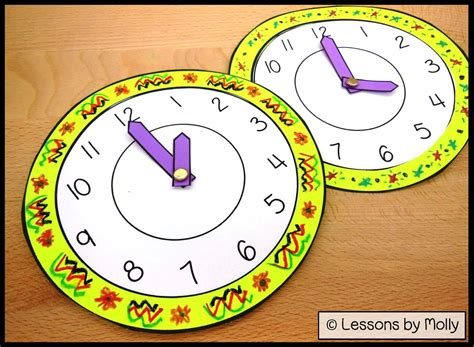 printable interactive clock lessons by molly analog paper clock for kids with