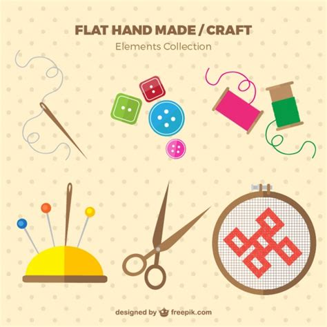sewing borders design elements vector sewing elements in flat design vector free download