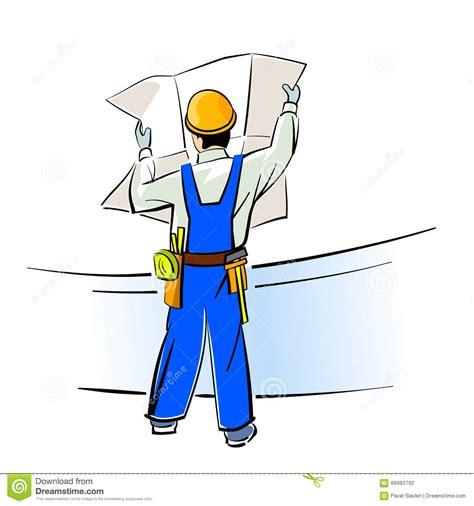blueprints builder builder with blueprints stock vector image 66993792