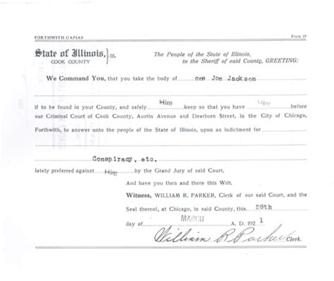 Arrest Warrant Search Illinois Shoeless Joe Jackson Of Fame 1921 Trial Related