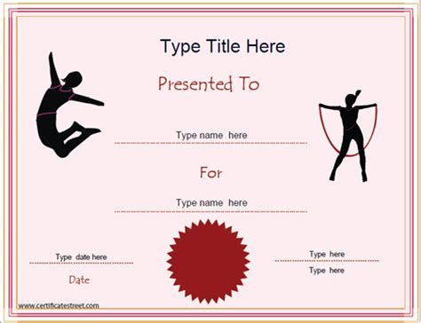 1st prize certificate template sports certificates gymnastics achievement award