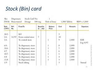 Bin Card Template by Hospital Pharmacy Lecture Two